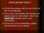 scholarship sheet