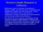 women s health research in california