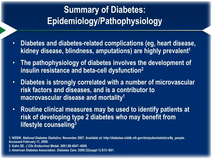Summary of Diabetes: Epidemiology/Pathophysiology