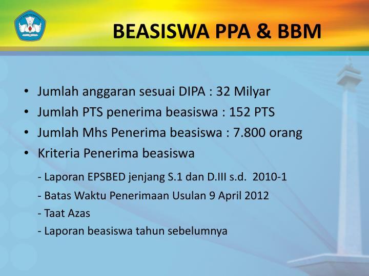 BEASISWA PPA & BBM