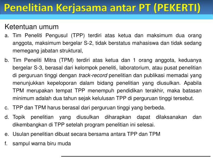 Penelitian Kerjasama antar PT (PEKERTI)
