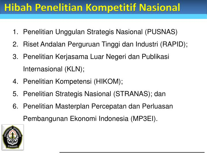 Hibah Penelitian Kompetitif Nasional