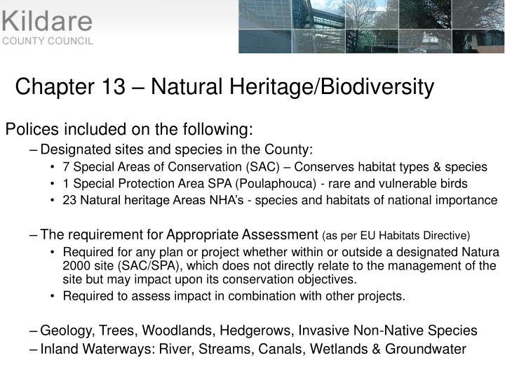 Chapter 13 – Natural Heritage/Biodiversity