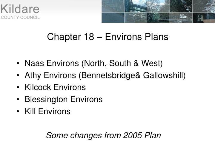 Chapter 18 – Environs Plans