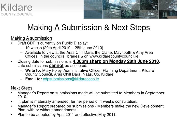Making A Submission & Next Steps