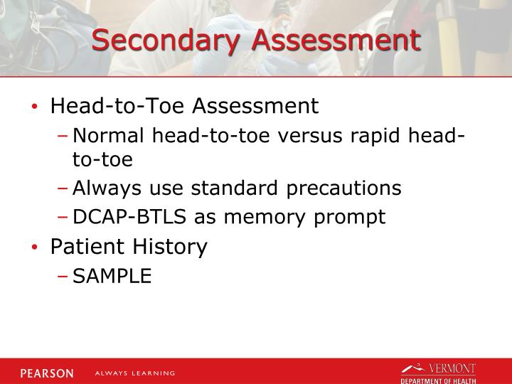 the head to toe assessment Can i have you tilt your head to the right, now the left now shrug your shoulders good i did not feel any of your lymph nodes and they are not tender which means they are not swollen, which would be a sign of infection.
