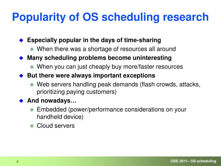 Popularity of OS scheduling research