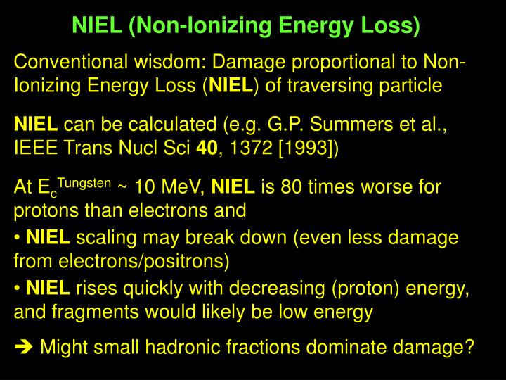 NIEL (Non-Ionizing Energy Loss)