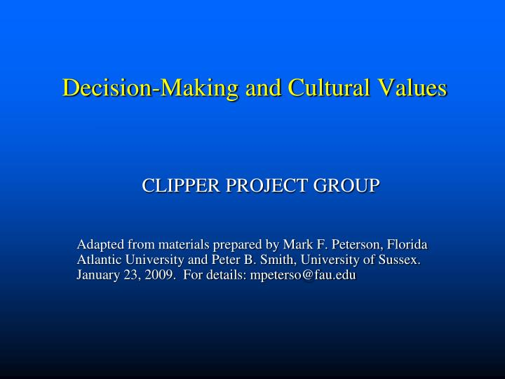 decision making and cultural values n.