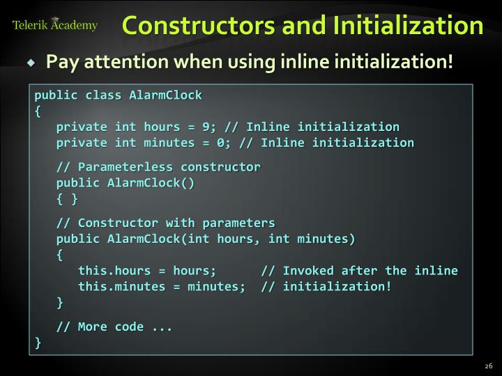 Constructors and Initialization
