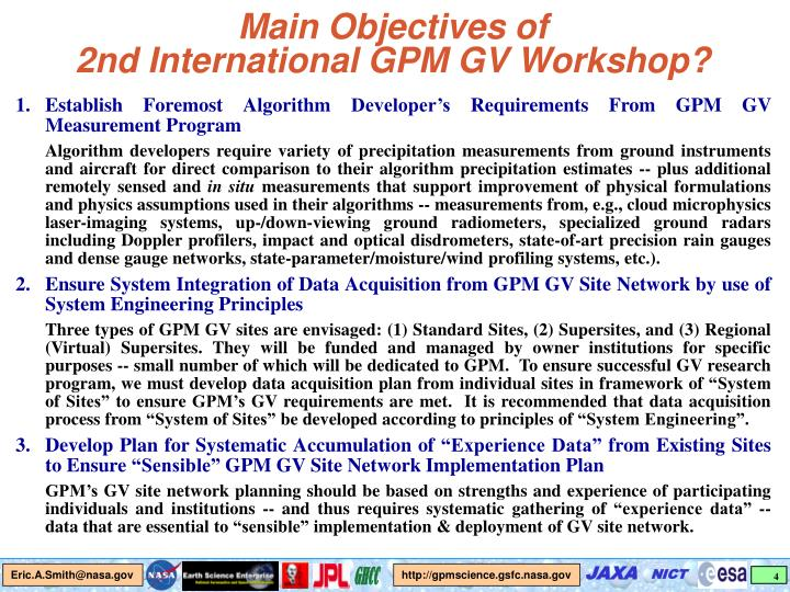 Main Objectives of