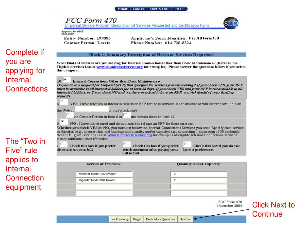 PPT - Current Form 470 Step-by-Step October 2010 Library