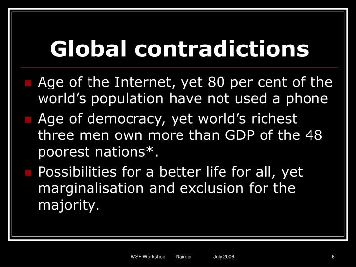 Global contradictions
