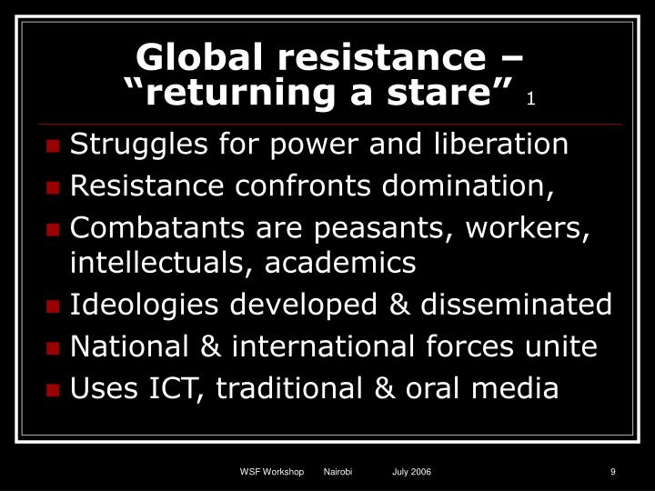 """Global resistance – """"returning a stare"""""""
