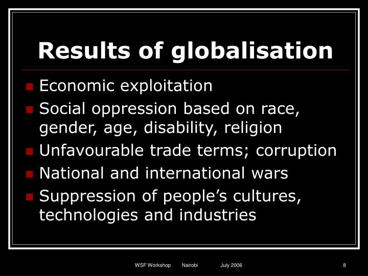 Results of globalisation