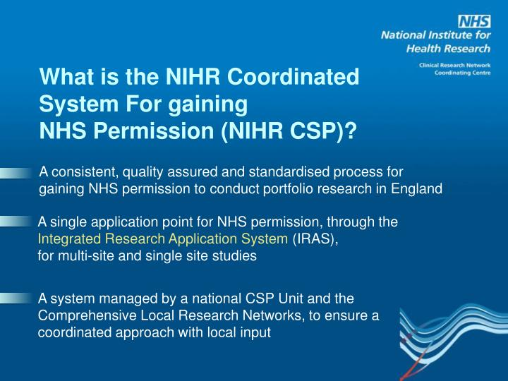 What is the NIHR Coordinated