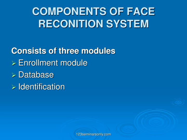 COMPONENTS OF FACE RECONITION SYSTEM