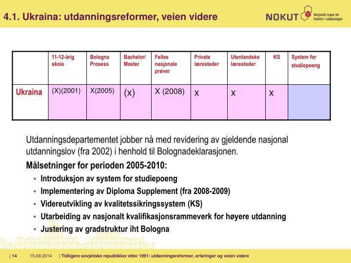 Utdanningsdepartementet jobber nå med revidering av gjeldende nasjonal utdanningslov (fra 2002) i henhold til Bolognadeklarasjonen.