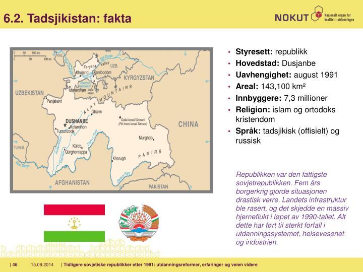 6.2. Tadsjikistan: fakta