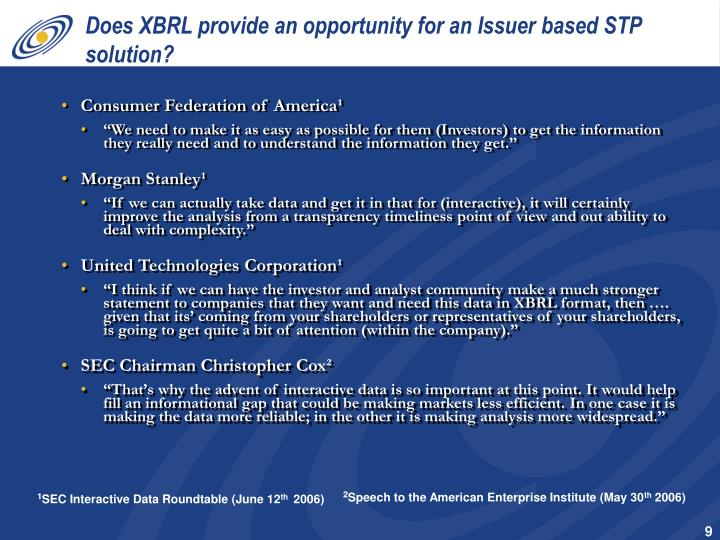 Does XBRL provide an opportunity for an Issuer based STP solution?
