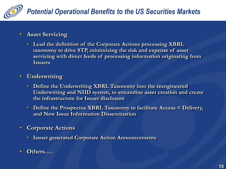 Potential Operational Benefits to the US Securities Markets