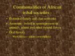 commonalities of african tribal societies