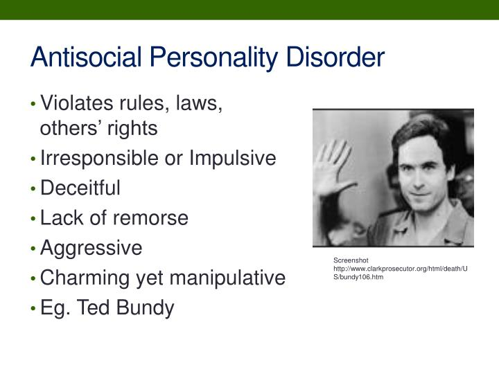 antisocial personality disorder ted bundy essay Free coursework on anti social personality disorder from essayukcom antisocial personality disorder such was the case with ted bundy.