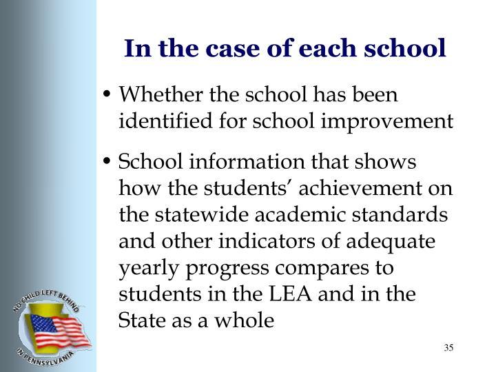 In the case of each school