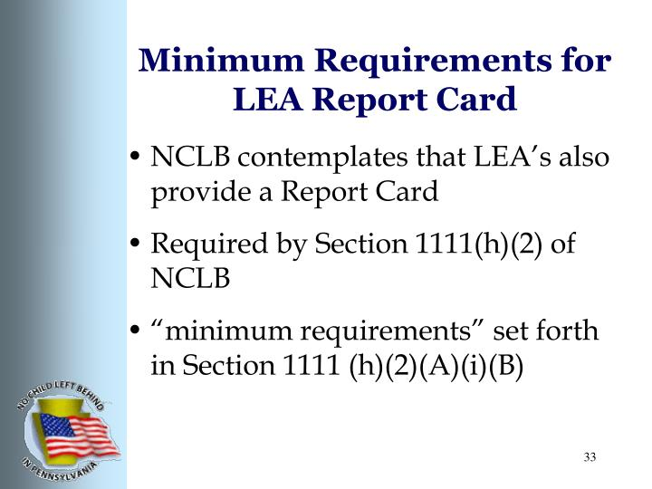 Minimum Requirements for LEA Report Card