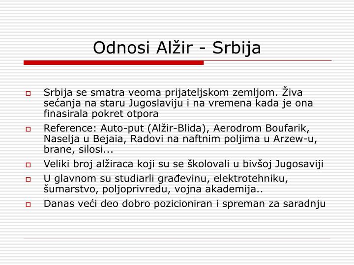 Odnosi Alžir - Srbija