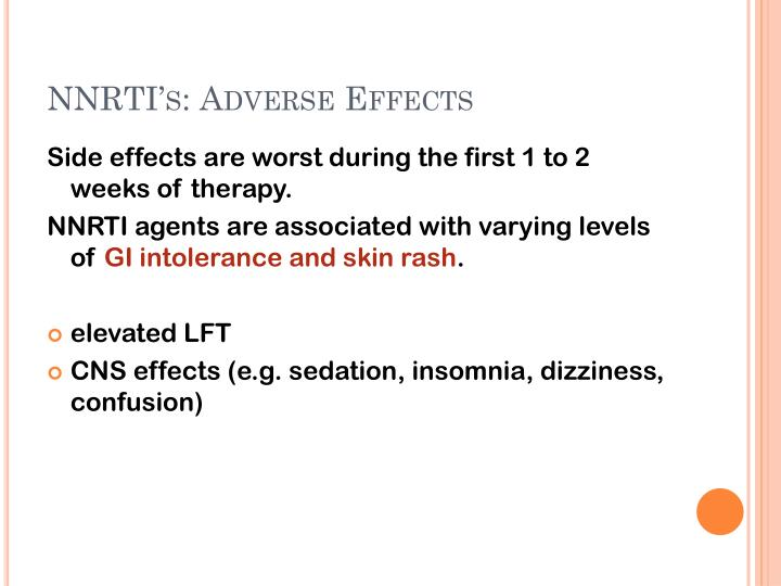 NNRTI's: Adverse Effects