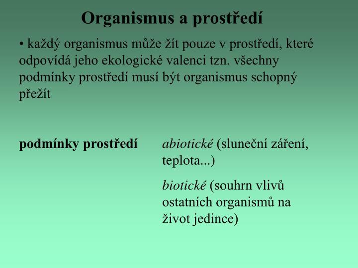 Organismus a prostředí