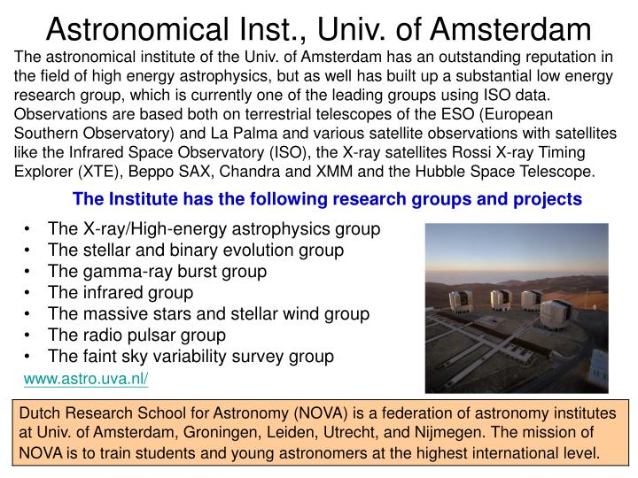 Astronomical Inst., Univ. of Amsterdam