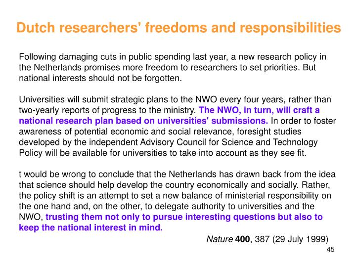 Dutch researchers' freedoms and responsibilities