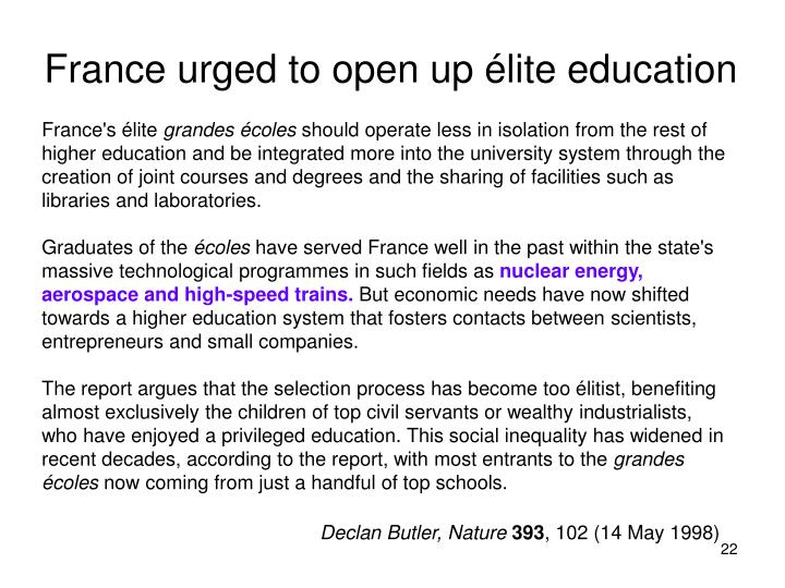 France urged to open up élite education