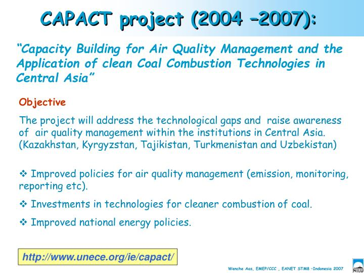 CAPACT project (2004 –2007):