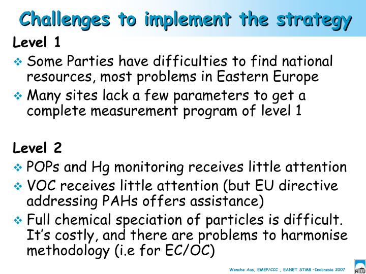 Challenges to implement the strategy