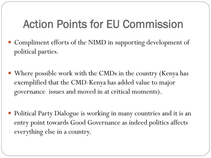 Action Points for EU Commission