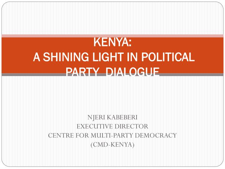 Kenya a shining light in political party dialogue
