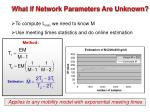 what if network parameters are unknown
