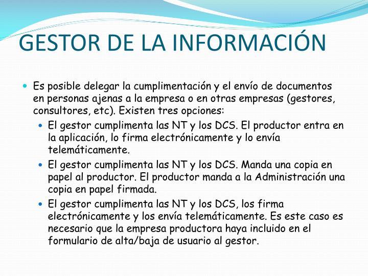 GESTOR DE LA INFORMACIÓN