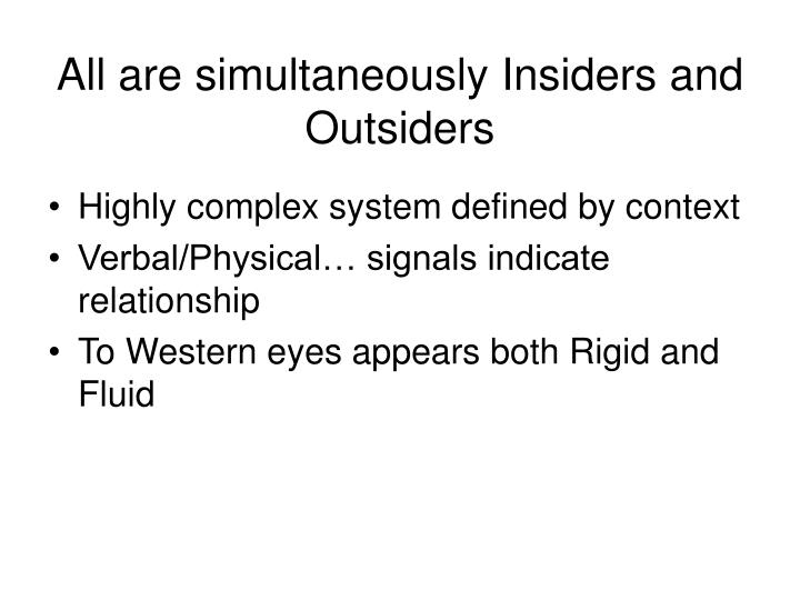All are simultaneously Insiders and Outsiders
