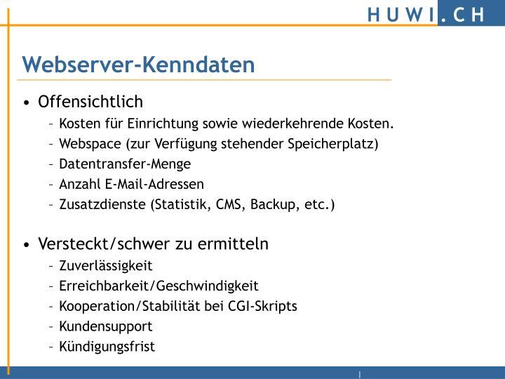 Webserver-Kenndaten