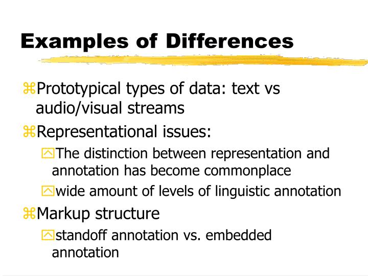 Examples of Differences