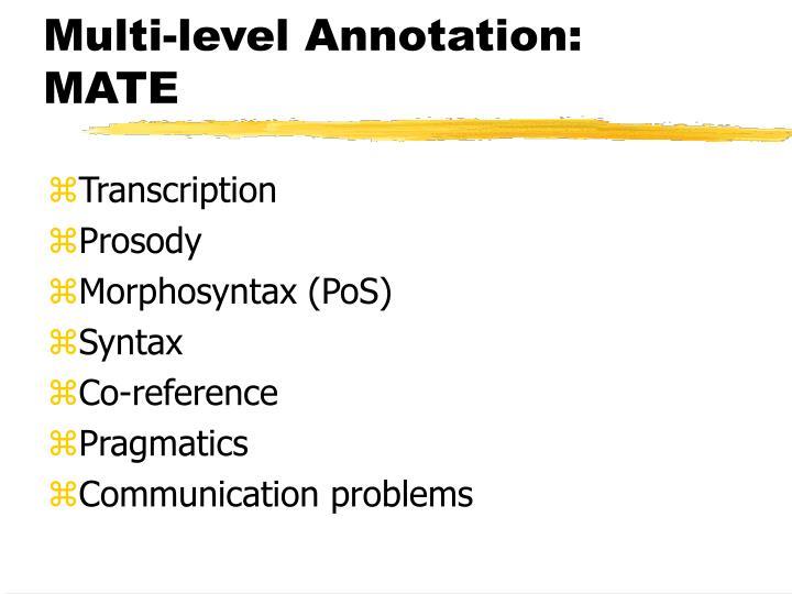 Multi-level Annotation: MATE