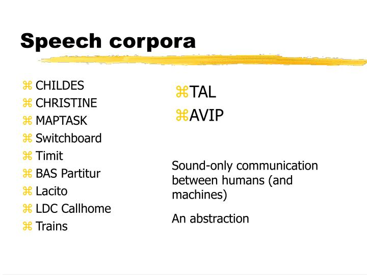 Speech corpora