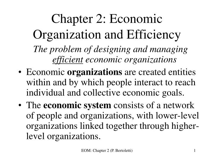 chapter 2 economic organization and efficiency n.