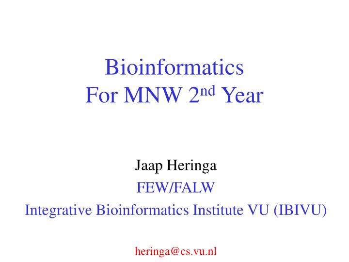 bioinformatics for mnw 2 nd year n.