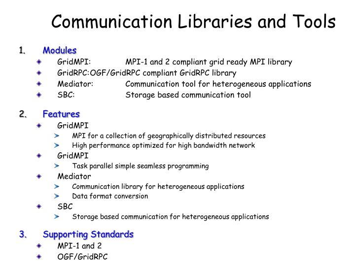 Communication Libraries and Tools
