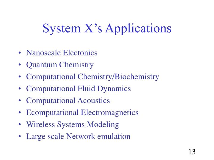 System X's Applications